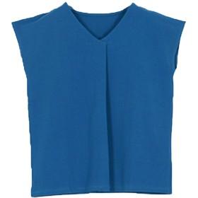 [神戸レタス] Vネック フレンチスリーブ フロントタック カットソー ブラウス Tシャツ [C3913] レディース 半袖 L ブルー