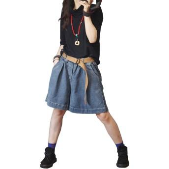 LEE FUN (リー ファン)デニム ショーパン レディース キュロットスカート ショートパンツ ゆったり ズボン 大きいサイズ Aライン 短パン 夏 シンプル ジーンズ ショート ハイウエスト カジュアル ボトムス (L, ブルー)