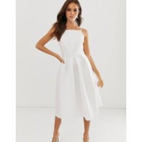 エイソス レディース ワンピース トップス ASOS DESIGN bow back midi prom dress Ivory