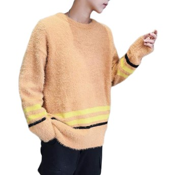 ZhongJue(ジュージェン)ニットセーター メンズ ゆったり クルーネック プルオーバー セーター 無地 カジュアル 韓国ファッション プルオーバー ニット あったか 防寒(6オレンジ)