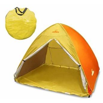 montagna ワンタッチテント 200p フルクローズ ポップアップテント ビーチテント キャンプ アウトドア 2~4人用 紫外線 UVカット (