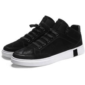 [CAIXINGYI] メンズシューズ プラスベルベット 男 靴 冬 綿 靴 メンズ レジャー スニーカー ハイシューズ 韓国 トレンド ワイルド 24〜27.5cm キャンバスシューズ (24, 黒 - 薄)