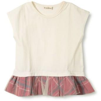 ブランシェス 裾チェック半袖Tシャツ(90~150cm) レディース アイボリー 150cm 【branshes】