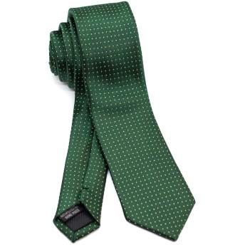 [ダブリューアンドエム] ビジネス 細 ネクタイ ナロータイ スリムタイ スキニータイ 6cm 幅 洗濯 可能 ピン ドット 柄 モス グリーン 深 緑