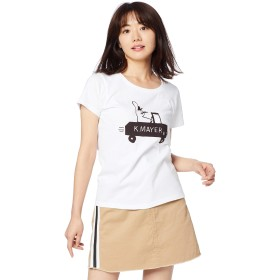 [クリフメイヤー] Tシャツ レディース 半袖 ロゴ 綿100% クリエイターズコラボTEE【sun&moon】 レディース LARGE オフホワイト