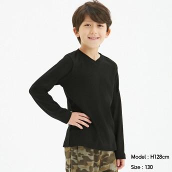 (GU)KIDS(男女兼用)ソフトコットンVネックT(長袖)+X BLACK 130cm
