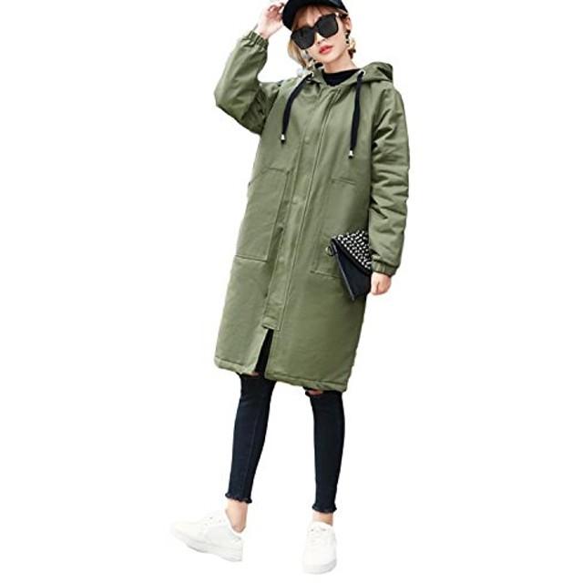 ZhongJue(ジュージェン)レディース ロング トレンチコート 薄手 カジュアル スプリングコート ゆったり 韓国 ファッション 春物 アウター フード付(8モスグリーン)