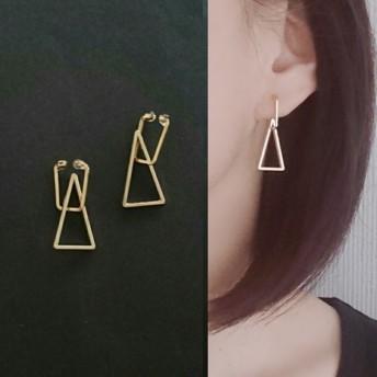 四角と三角 ゴールドフープイヤリング