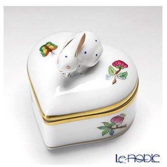 ヘレンド(Herend) ヴィクトリア・プレーン VA 06112-0-25/6112 ハートボックス(ウサギ)