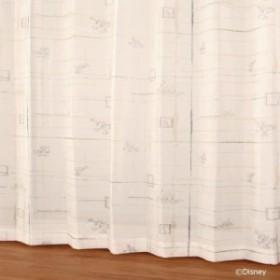 ディズニー レースカーテン ボイルコウシdeミッキー グリーン W100×H133 2枚入