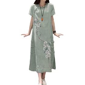 [美しいです] レディース ワンピース夏 秋 冬 Aライン スリム チャイナドレス 民族風 綿麻 刺繍 (カラー3, 2XL)