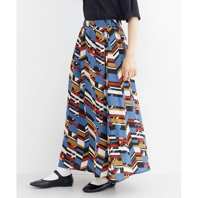 merlot きかがく柄ロングスカート