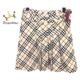 バーバリーブルーレーベル スカート サイズ38 M レディース 美品 ベージュ×黒×ボルドー 新着 20190727