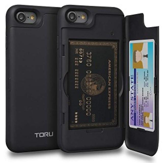 送料無料 iPhone8 ケース カード 収納背面 2枚 IC Suica カード入れ カバ― ミラー付き (アイフォン 8 / アイフォン 7 用) - ブラッ