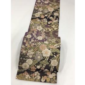 着物 美品 逸品 袋帯 紫 辻ケ花全通織 辻が花 菱文 市松模様 箔 やまと 全通 正絹  リサイクル バイセル