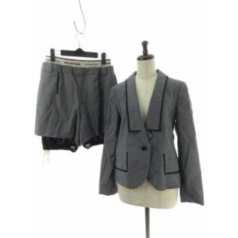 【中古】フラボア FRAPBOIS スーツ セットアップ 上下 ジャケット パンツ ショート ストライプ 0 グレー レディース