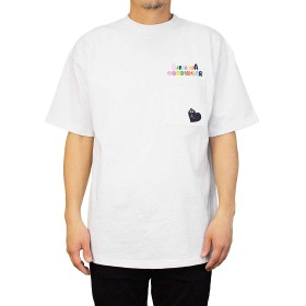 [Goodwear] グッドウェア Tシャツ ロゴポケット BARBAPAPA コラボ メンズ レディース (Large, ホワイト)