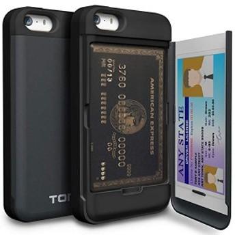 iPhoneSEケース カード 収納背面 3枚 IC Suica カード入れ カバ― ミラー付き (アイフォン SE/アイフォン 5S / アイフォン 5 用)...