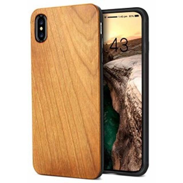 iPhone Xs ケース/iPhone X/iPhone 10ケース 木製 ハードケース ワイヤレス充電対応 スマホケース wood case 木目 落ち着いた感 ...