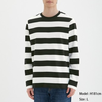 (GU)ワイドボーダークルーネックT(長袖) BLACK M