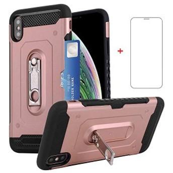 iPhone XR ケース ICカード収納 耐衝撃 スタンド機能 スマホケース アイフォン XR 対応(ローズ・ゴールド) 送料無料