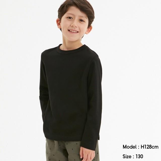 (GU)KIDS(男女兼用)ソフトコットンクルーネックT(長袖) BLACK 100