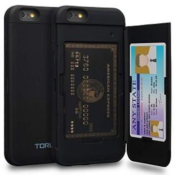 送料無料 iPhone6Sケース カード 収納背面 2枚 IC Suica カード入れ カバ― ミラー付き (アイフォン 6S / アイフォン 6 用) - ブラッ