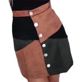 chenshiba-JP Women A-Line Skirt Short Mini Casual Color Block Botton Fashion Skirt Brown XS