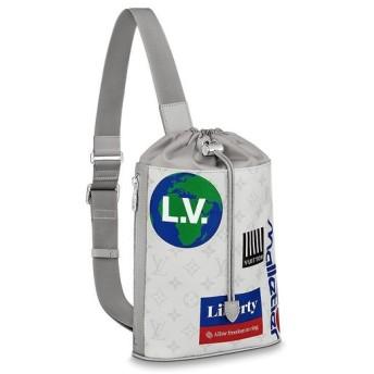 ルイヴィトン LOUIS VUITTON バッグ バック ボディバッグ ブロン ホワイト系 シルバー ロゴ プリント モノグラム レザー
