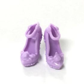 3ペア パープル カラー 人形 ドール用 靴 サンダル シューズ ハンドメイド パーツ 00003-0002