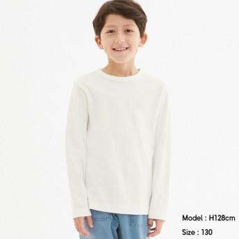 (GU)KIDS(男女兼用)ソフトコットンクルーネックT(長袖) OFF WHITE 150cm