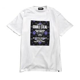 ダブルスティール SQUARE NATIVE Tシャツ メンズ ホワイト×グレー XL