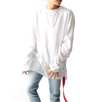 ホワイト長袖 F JACK PORT(ジャックポート) デザイナーズ ゆったり ビッグシルエット Tシャツ ベルトテープ 付き コットン 100% 長袖 メンズ 秋 冬 長そで 無地 袖長 JKP22792010201