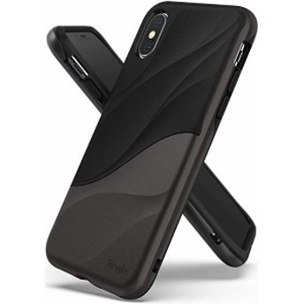 iPhone XS ケース/iPhone X ケース 対応 [WAVE] 二重構造 落下防止 ストラップホール スマホケース 衝撃吸収 PC TPU [Qi 充電 ...