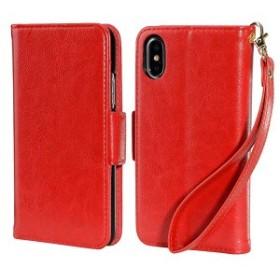 iPhoneX 手帳型ケース アイフォンX レザー 全面保護 横スタンド機能 マグネット 分離式 スキミング防止 カードポケット レッド