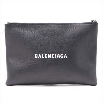 バレンシアガ レザー クラッチバッグ ブラック 485110 ロゴクリップ