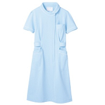 住商モンブラン ナースワンピース(半袖) 医療白衣 サックスブルー(水色)/白 LL 73-1476(直送品)