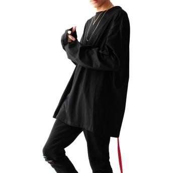 ブラック長袖 F JACK PORT(ジャックポート) デザイナーズ ゆったり ビッグシルエット Tシャツ ベルトテープ 付き コットン 100% 長袖 メンズ 秋 冬 長そで 無地 袖長 JKP22792010001