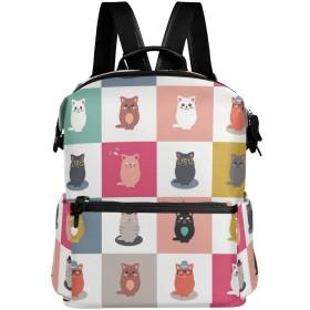 KaariDream リュック 大人 おしゃれ レディース メンズ 旅行 リュックサック 高校生 中学生 大容量 ネコ 猫 猫柄 アニマル チェック柄 かわいい シンプル バックパック デイバッグ 軽量 通勤 通学 アウトドア A4 PC収納 プレゼント