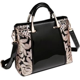 KAXIDY エレガントな刺繍 パテントレザー ハンドバッグ ショルダーバッグ (ブラック)