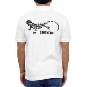 (グルーブオン) GROOVEON ポロシャツ メンズ 半袖 サーフ系 トカゲ柄 カジュアル カノコポロシャツ gosp4604 (L, WHITE-BLACK)