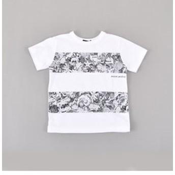 【BEBE ONLINE STORE:トップス】天竺海プリント切替Tシャツ
