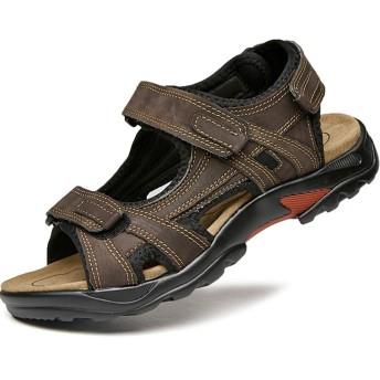 [つるかめ] サンダル メンズ スポーツサンダル ビーチシューズ カジュアル 革靴 アウトドア マリンシューズ ウォーターシューズ トレッキングシューズ スニーカー ハイキングシューズ 通気性 水陸両用 ブラウン 24.0CM ZF0568
