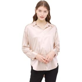 LilySilk(リリーシルク)レディース カジュアル春夏ゆったり 上品 定番 長袖シルク ブラウス シルク100% 着こなしやすい オフィスカジュアル 爽やか UVカット 肌に優しい 敏感肌も着用 M/イトベージュ
