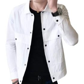 Romancly メンズルーズターンダウンカラー軽量カジュアルショートジャケットコート White L