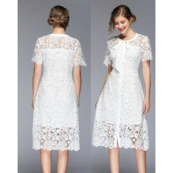 パーティードレス ワンピース お呼ばれ レース 結婚式 二次會 リボン お呼ばれドレス ドレス 20代 30代 40代 刺繍 綺