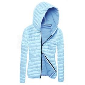 Aiweijia 女性フード付きコットンジャケット軽量防風アウトウェア冬長袖ジッパースリム暖かい女性ソフトコートコットントップス