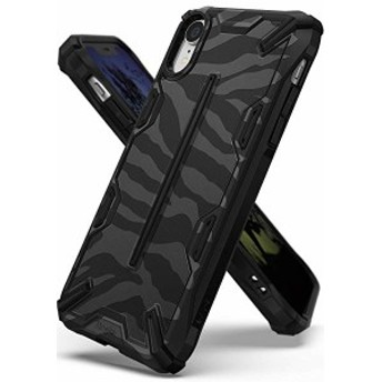 iPhone XR ケース 対応 衝撃吸収 ストラップホール 耐衝撃 落下防止 スマホケース [Qi 充電 対応] (Zebra Black) 送料無料