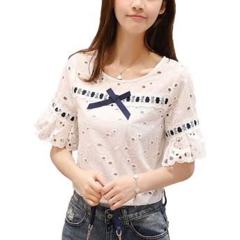 Heaven Days(ヘブンデイズ) Tシャツ 半袖 カットソー ブラウス ラウンドネック 花柄刺繍 アイレット リボン レディース 1807M0456
