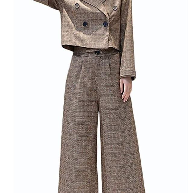 EASONDDD スーツ パンツ 2点セット レディース セットアップ チェック 入学式 スーツ ママ 入園式 母 おしゃれ ジャケット ワイドパンツ レディース セレモニースーツ 卒業式 結婚式 大きいサイズ